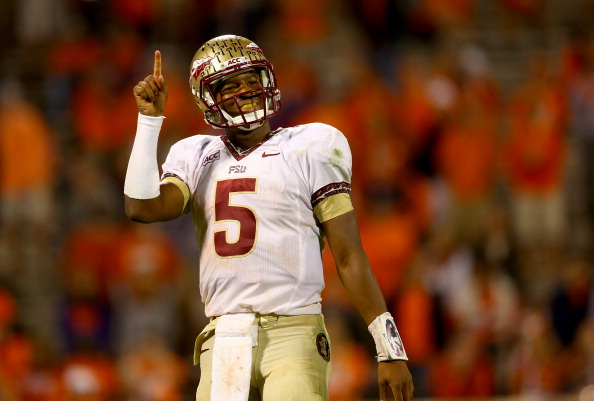 CLEMSON, SC - OCTOBER 19:  Jameis Winston #5 of the Florida State Seminoles celebrates after defeating the Clemson Tigers 51-14 at Memorial Stadium on October 19, 2013 in Clemson, South Carolina.  (Photo by Streeter Lecka/Getty Images)