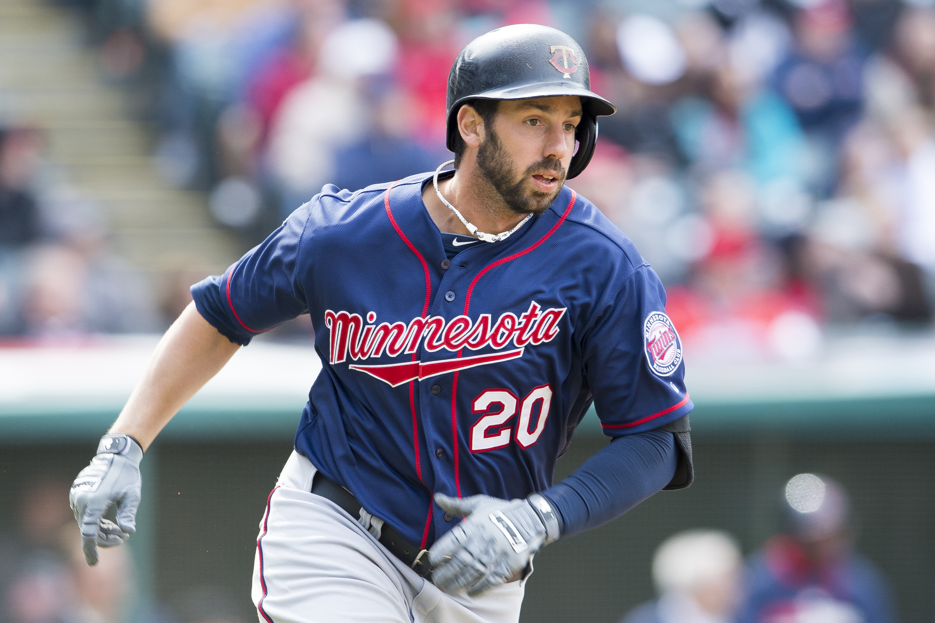 CLEVELAND, OH - APRIL 6: Chris Colabello #20 of the Minnesota Twins runs the bases after hiting a three RBI double during the sixth inning against the Cleveland Indians at Progressive Field on April 6, 2014 in Cleveland, Ohio.