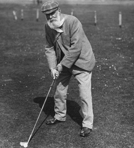 Scottish golfer 'Old' Tom Morris (1821 - 1908) on a golf course. (credit: Hulton Archive/Getty Images)