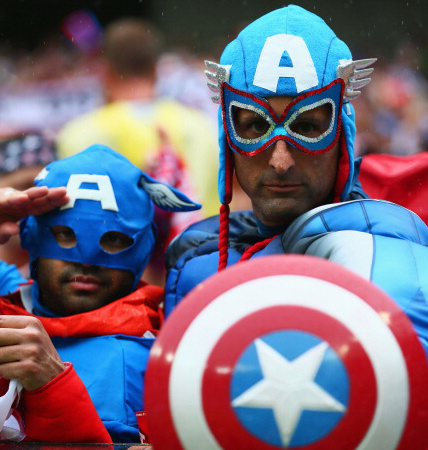 United States fans dressed as Captain America look on during the 2014 FIFA World Cup Brazil group G match between the United States and Germany (credit: Kevin C. Cox/Getty Images)