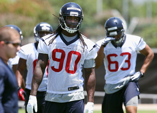 HOUSTON, TX - MAY 16: Jadeveon Clowney #90 of the Houston Texans during opening day of rookie minicamp on May 16, 2014 in Houston, Texas.