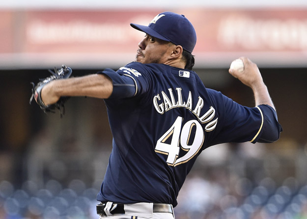 SAN DIEGO, CA - AUGUST 27:  Yovani Gallardo #49 of the Milwaukee Brewers pitches during the first inning of a baseball game against the San Diego Padres at Petco Park August, 27, 2014 in San Diego, California.