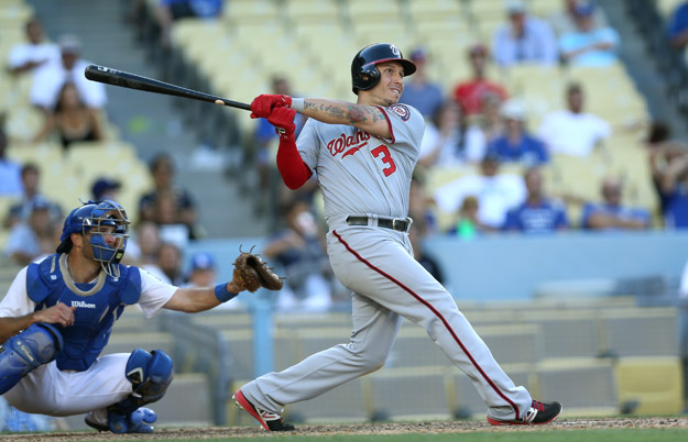 LOS ANGELES, CA - SEPTEMBER 03:  Asdrubal Cabrera #3 of the Washington Nationals hits a two run home run in the 14th inning against the Los Angeles Dodgers at Dodger Stadium on September 3, 2014 in Los Angeles, California.