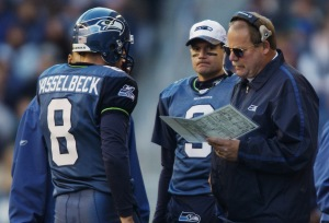Mike Holmgren, Matt Hasselbeck (Photo by Otto Greule Jr/Getty Images)