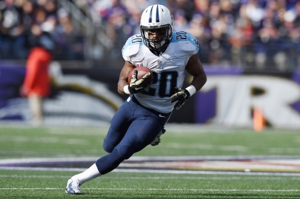 Running back Bishop Sankey #20 of the Tennessee Titans rushes in the first half of a game against the Baltimore Ravens at M&T Bank Stadium on November 9, 2014 in Baltimore, Maryland.  (Photo by Patrick Smith/Getty Images)