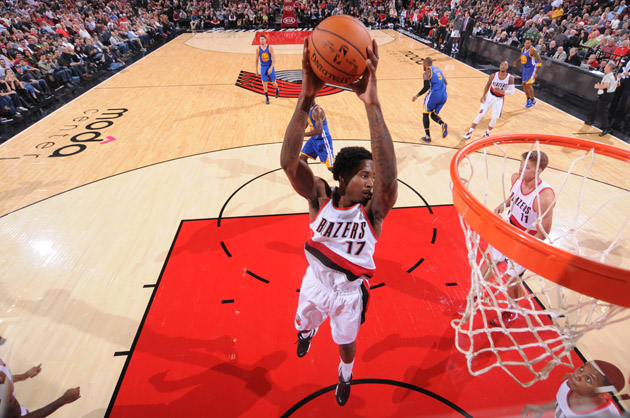 Ed Davis #17 of the Portland Trail Blazers grabs the rebound against the Golden State Warriors.