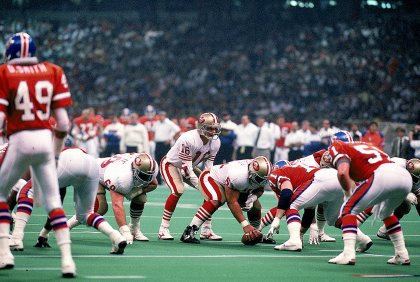 28 Jan 1990: Quarterback Joe Montana #16 of the San Francisco 49ers in action during the NFL Super Bowl XXIV Game against Denver Broncos at the Louisiana Superdome in New Orleans, Louisiana. The 49ers defeated the Broncos 55-10. Mandatory Credit: Rick Stewart /Allsport