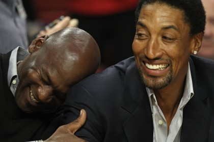 CHICAGO, IL - FEBRUARY 15: Former players Michael Jordan and Scottie Pippen of the Chicago Bulls share a laugh before a game between the Bulls and the Charlotte Bobcats at the United Center on February 15, 2011 in Chicago, Illinois. NOTE TO USER: User expressly acknowledges and agrees that, by downloading and/or using this photograph, User is consenting to the terms and conditions of the Getty Images License Agreement. (Photo by Jonathan Daniel/Getty Images)