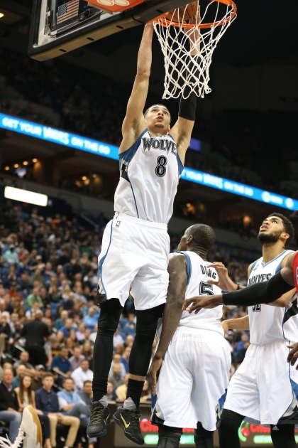 MINNEAPOLIS, MN - APRIL 13: Zach LaVine #8 of the Minnesota Timberwolves dunks against the New Orleans Pelicans on April 13, 2016 at Target Center in Minneapolis, Minnesota. NOTE TO USER: User expressly acknowledges and agrees that, by downloading and or using this Photograph, user is consenting to the terms and conditions of the Getty Images License Agreement. Mandatory Copyright Notice: Copyright 2016 NBAE (Photo by Jordan Johnson/NBAE via Getty Images)